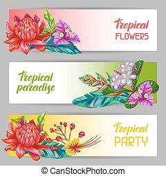 つぼみ, 葉, flowers., トロピカル, 多色刷り, タイ, 植物, 旗