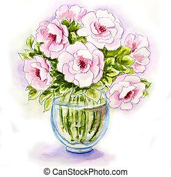 つぼ, 春の花, 水彩画, イラスト