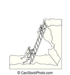 つらい, シルエット, 点を打たれた, ビジネス 人々, 上, 岩, モノクローム, 上昇, マレ, 階段, 風景
