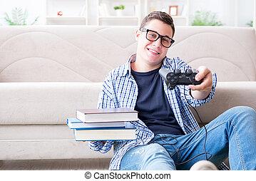 つらい, 勉強, 若い, ゲーム, 学生, バランス, 遊び