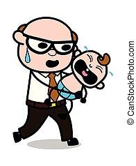 つらい, 古い, -, 父, イラスト, たくわえ, ベクトル, 冷静, 泣いている赤ん坊, 上司, 漫画, レトロ