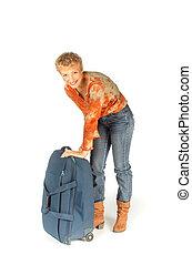 つらい, 女, 開いた, 彼女, スーツケース