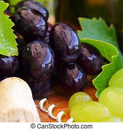つる, ワイン, ブドウ, 背景, 葉