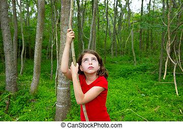 つる, 公園, ジャングル, 女の子, 幸せ, 遊び, 森林