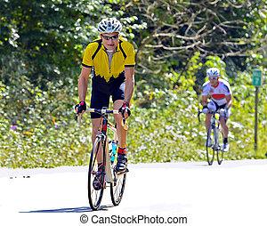 でき事, サイクリング, 自転車の ライダー, の間