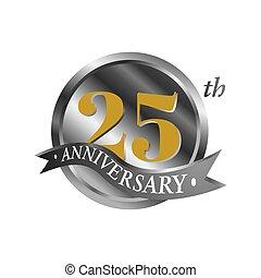 でき事, 印, 白, 年, 祝福, twentyfive, ribbon., 25, 第25, 記念日, ロゴ, シンボル, 銀, バックグラウンド。, logotype, illustration., 数, ベクトル