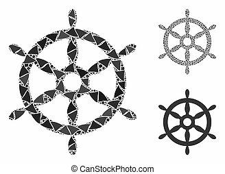 でこぼこ, 車輪, モザイク, ステアリング, 船, アイコン, 要素