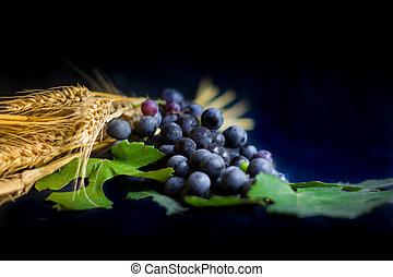 とげ, bread, ブドウ, キリスト教, 王冠, 黒, シンボル, 小麦, 背景