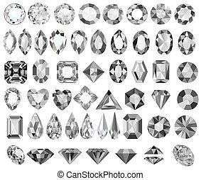 とても, 形, 石, セット, 切口, イラスト, 別