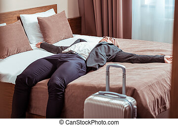 とどまること, 部屋, ビジネス, ある, ホテル, 成人, 旅行, 人