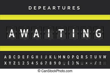とんぼ返り, 板, フライト, 遅れ, ベクトル, 発表, 空港, covid-19., まさしく, 出発, 待ち受けている, ステータス
