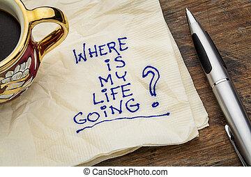 どこ(で・に)か, ある, 私, 生活, 行く