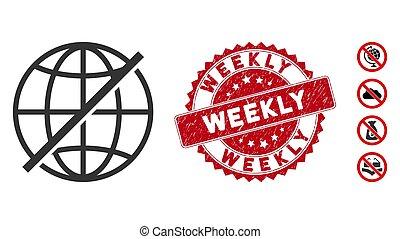 ない, グランジ, 毎週, 世界的である, シール, アイコン