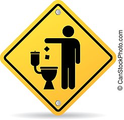 ない, トイレ, がらくた, アイコン