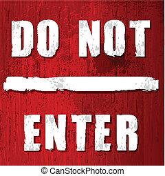 ない, 入りなさい, 赤, 印