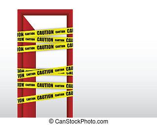 ない, 注意, 入りなさい, ドア, 印