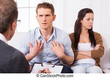 ない, 精神科医, fault!, 話し, 彼, 交差する 腕, 私, 妻, 若い, モデル, ジェスチャーで表現する...
