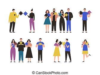なぞ, 概念, 困惑, 女性, 地位, solving., グループ, ジグソーパズル, pieces., 保有物, ∥間に∥, 平ら, 特徴, 対, 漫画, illustration., 人々, ∥あるいは∥, 接続, ベクトル, 問題, マレ, 単独で
