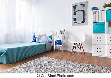 なだらかに傾斜する, ライト, 現代, ベッド, 色, 子供, 寝室, ユニット