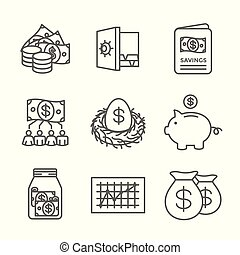 ∥など∥, 節約, 資金, 口座, アイコン, ira, w, roth, 引退, セット, 相互