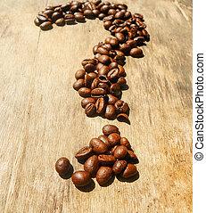 におい, 印, 情事, 豆, 質問, 味, バックグラウンド。, 形態, coffee., コーヒー, 木製である, 取り決められた