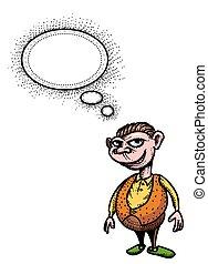 にっこり笑う, イメージ, man-100, 漫画