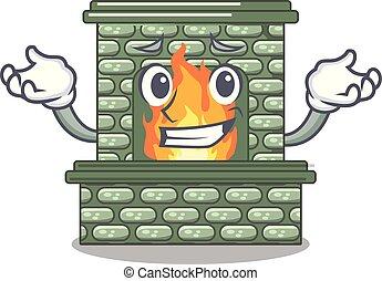 にっこり笑う, 家, 暖炉, 漫画