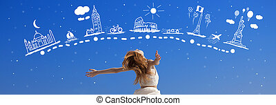 について, のまわり, 旅行, 夢を見ること, redhead, 女の子, world.