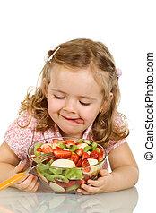 について, サラダ, 味, わずかしか, フルーツ, 女の子