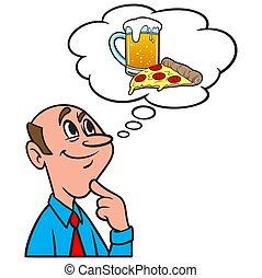 について, ビール, ピザ, 考え