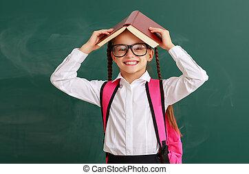 について, 女の子, 学校, 子供, 本, 面白い, 黒板, 学生