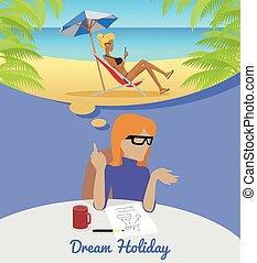 について, 女性の モデル, 残り, holiday., 夢を見ること