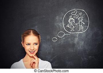 について, 女, 愛, concept., 若い, チョーク, 結婚, board., 図画, 夢