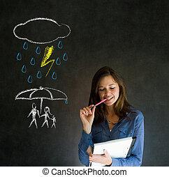 について, 女, 自然災害, 家族, 考え, 黒板, 背景, 保護, 教師