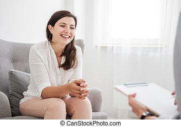 について, 女, 財政, 専門家, ローン, 若い, 話し, アパート, 新しい, 幸せ
