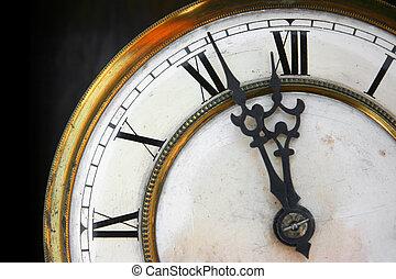 について, 時計, 古い, 顔, 12