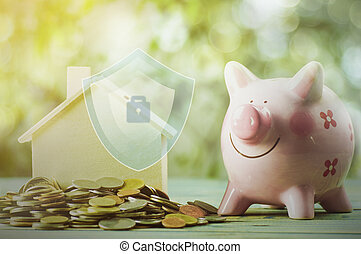 について, 概念, 積み重ねられた, 金融, 家, 保護, お金, 家, コイン
