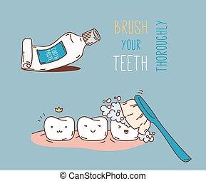 について, 歯医者の, 漫画, treatment., 診断
