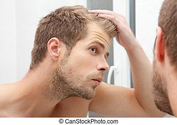 について, 若い, 心配した, hairloss, 人, ハンサム