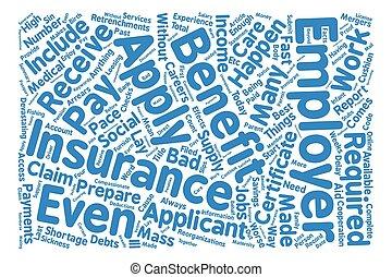 について, 雇用, 保険, 単語, 雲, 概念, テキスト, 背景