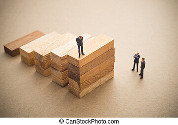 について, step., 話し, 木, ビジネスマン, ブロック