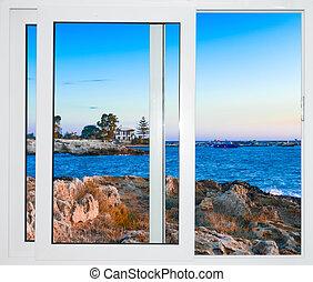 によって, カーテン, 風景, 窓, 自然