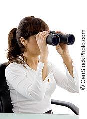 によって, 会計士, 光景, 双眼鏡, 女性, 側, 見る