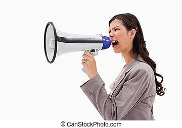 によって, 叫ぶこと, メガホン, サイド光景, 怒る, 女性実業家
