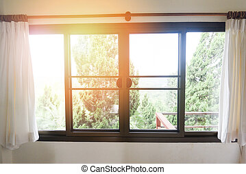 によって, 朝, 木, -, 日光, 外, 寝室, 部屋, カーテン, 窓, 開いた, バルコニー, 自然