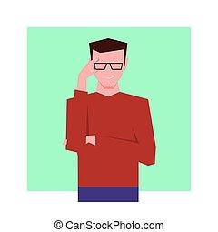 によって, 見る, glasses., ビジネスマン, イラスト, ベクトル, 横柄