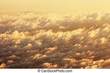 によって, 飛行機, 雲, 窓。, 光景