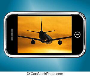 ∥に向かって∥, モビール, 飛行, 電話, 日没, 飛行機