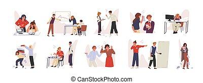 ∥に向かって∥, 失礼である, スタッフ, ベクトル, set., 雰囲気, 漫画, チーム, 部下, 態度, ビジネス, 無作法, イラスト, 仕事, characters., 会社, ひどく, concept., 失礼, 同僚, 不利, 経営者