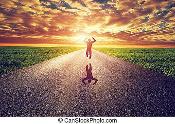 ∥に向かって∥, 道, 太陽, まっすぐに, 長い間, 跳躍, 日没, 方法, 人, 幸せ